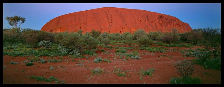 Ayers rock at twilight. Uluru-Kata Tjuta National Park, Northern Territories, Australia (Panoramic).