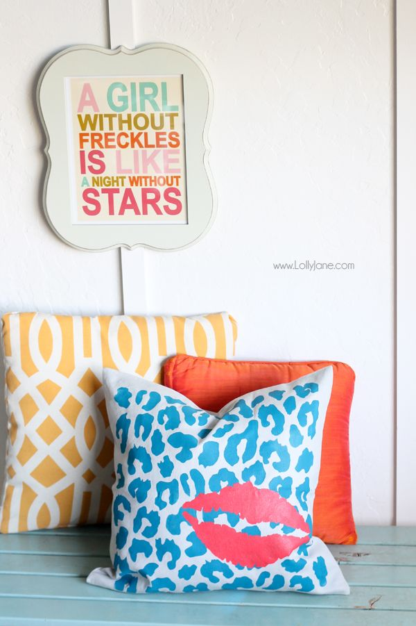 DIY Stenciled Pillow tutorial (via lollyjane.com): Freckles Print, Girl, Wall Hanging, Freckles Sign, Freckles Quote