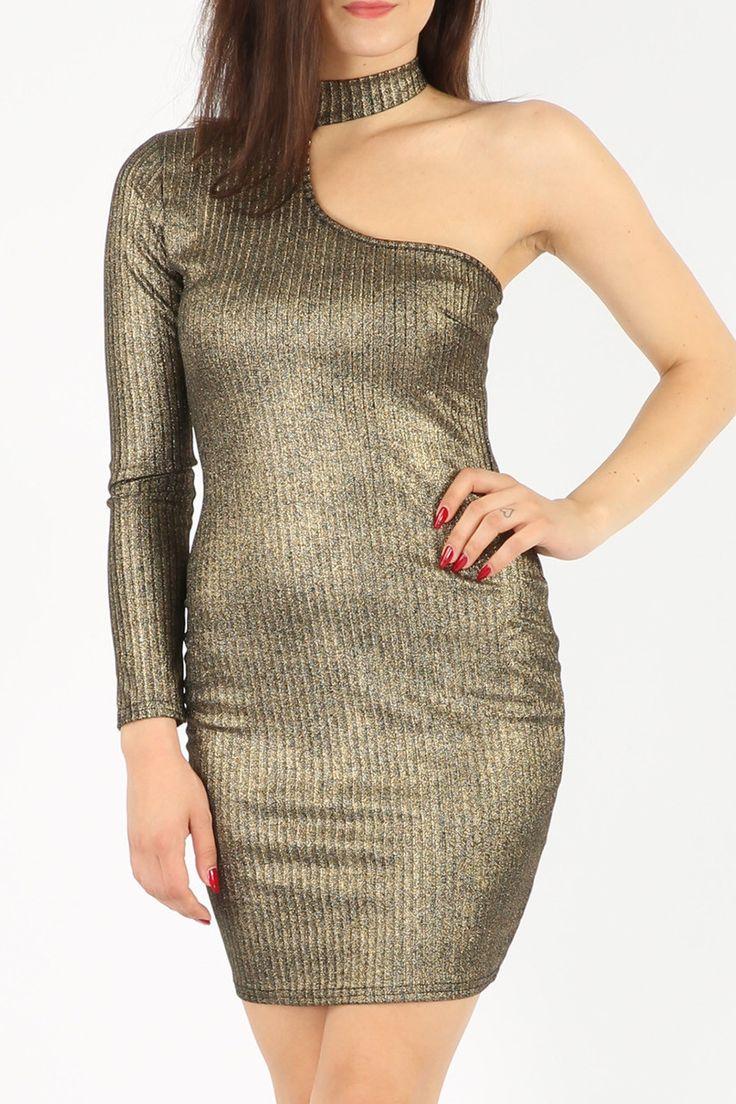 Needthatstyle - Ellie One Shoulder Metallic Bodycon Dress, £12.00 (http://www.needthatstyle.com/ellie-one-shoulder-metallic-bodycon-dress/)