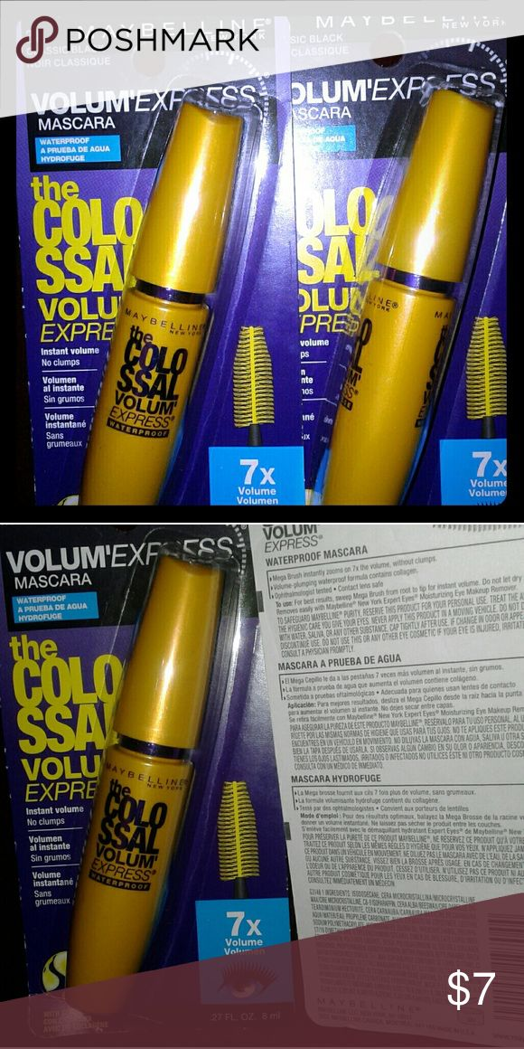 Maybelline Colossal Volume Mascara **Tuesday sale** Brand New** Never Opened**  2 tubes for $7 Waterproof or Non Waterproof Classic Black (#241) Colossal Volume Express Mascara!!! Thanks! Have a Blessed week! Maybelline Makeup Mascara