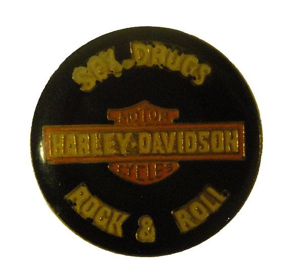 "vintage Harley Davidson motorcycle metal enamel pin badge sex drugs rock & roll by VintageTrafficUSA  24.00 USD  A vintage Harley Davidson pin used but excellent condition. Measures: approx 1"" or less 20 years old hard to find vintage high-quality cloisonne lapel/pin. Beautiful die struck metal pin with colored glass enamel filling. Add inspiration to your handbag tie jacket backpack hat or wall. Have some individuality = some flair! -------------------------------------------- SECOND ITEM…"