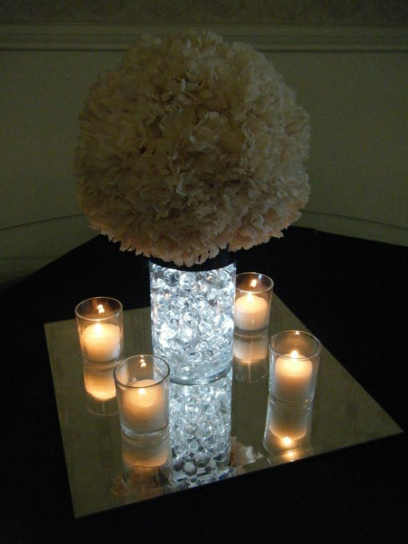Centerpiece idea; But better lights on the mirror    Bre2Be's Carnation Pom Centerpieces :  wedding carnation pomander water pearls Centerpieces 007