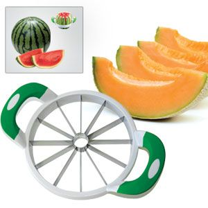 "Melon Slicer - Take the hard work out of preparing cataloupes, honeydews and mini watermelons! Strong, stainless steel blades cut through to remove the core and make 12 even slices in one motion - much quicker and safer than using a knife. For melons up to 8-1/2""Diam. Top-rack dishwasher safe. Non-slip handles. (Product Number PM22014) $19.98 CAD www.davesgift.shopregal.ca"