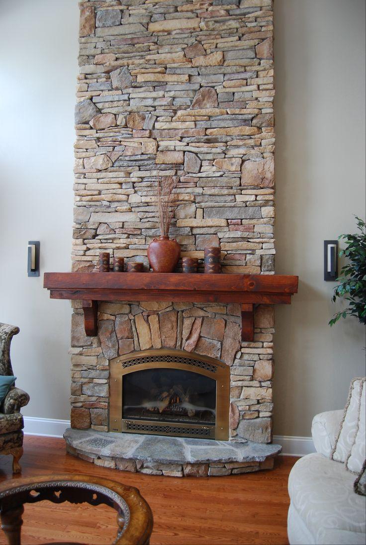 ledge stone fireplace