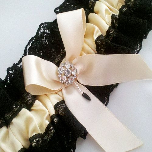 Luxury Black BridalChampagne Pure Silk Diamante Garter Lace Plus Size Beautifully Hand Made In England Amazing VALUE