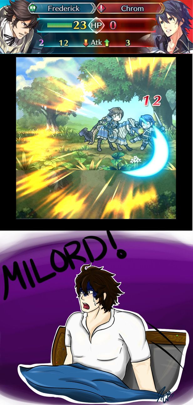 """Oh thank the gods... Just a... Just a dream..."" *Chrom lays defeated by Frederick on the ground of Arena Ferox, thus not being able to make it to Smash 4*"