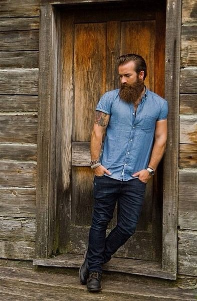 Man, tattoos, beard.