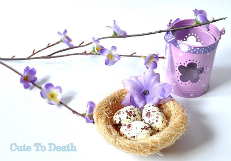 Cute To Death: Prosta dekoracja na Wielkanoc... ptasie gniazdko z...