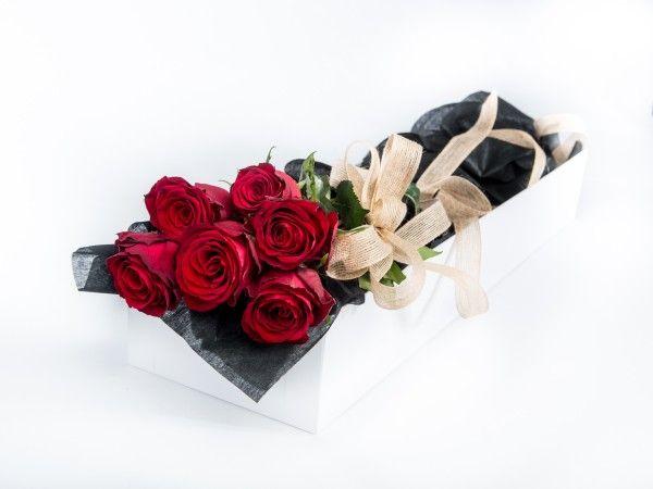 6 Long Stem Roses in a white gift box. www.fleurus.com.au