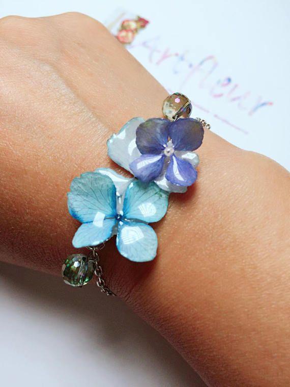 Hydrangea Bracelet Handmade Bracelet with real blue Hydrangea