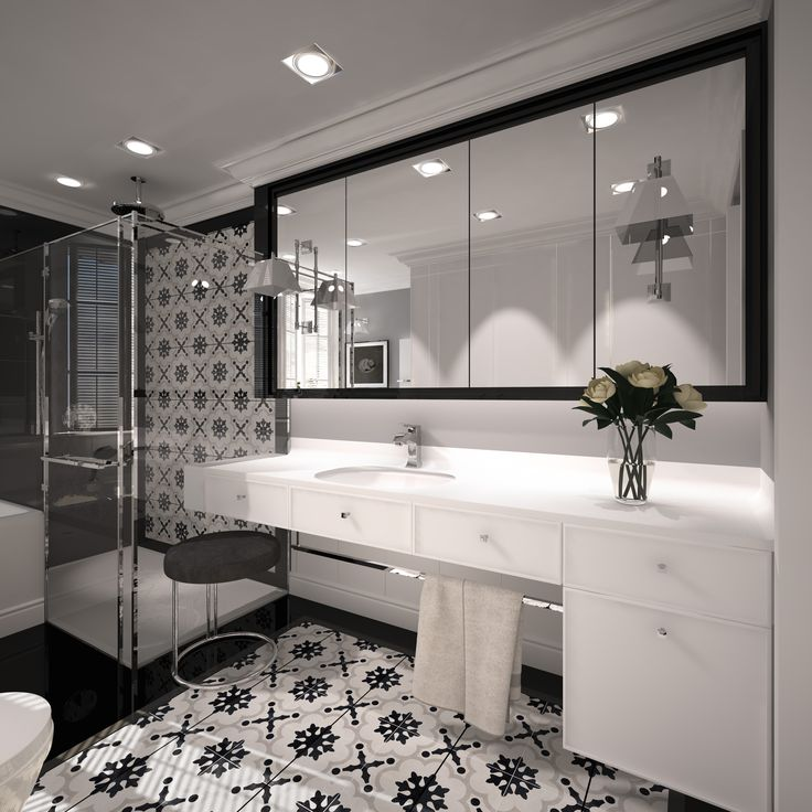 Bathroom Design With A Note Of Classics. Bathroom Of The Surfaced 8,8m2.