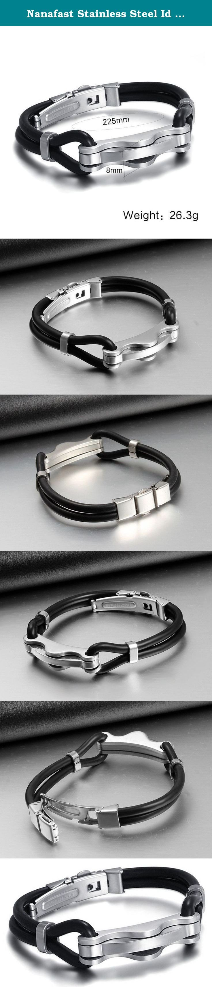 Nanafast Stainless Steel Id Bracelet for Men Simple Double Silicone Cord 2 Tones Wave Design. Stainless Steel Jewelry is the perfect gift for men. This bracelet is consist of allergy-free surgical stainless steel. Give it to your true gentleman, or treat yourself for a trendy bracelet style. Look and feel great with this designer bracelet! What is the Stainless Steel Jewelry? Stainless Steel is famous for its anti-acid, anti-alkali, anti-fade, anti-allergic and non-deforming. Because of...