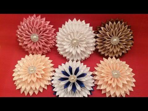 Цветы из лент МК Георгин канзаши детская повязка DIY flower kanzashi headband 子供カチューシャ Stirnband - YouTube