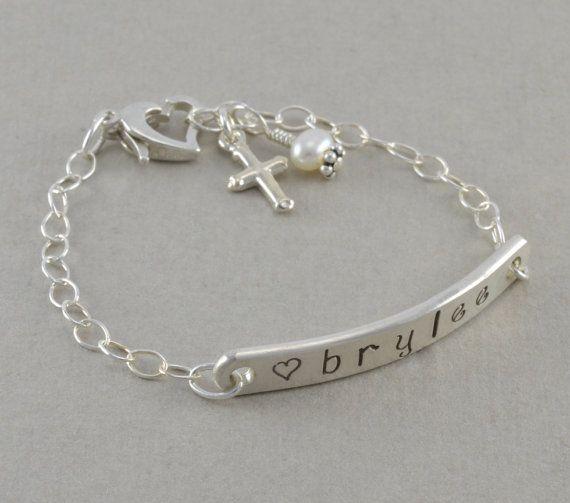 Baby ID Bracelet, hand stamped sterling silver, Little Girls name bracelets, baptism gift, pearl, personalized, cross, custom, kids, BRYLEE
