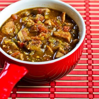 Crockpot Recipe for Pork and Green Chile Stew (Nefi's Green Chile Stew) from Kalyn's Kitchen  #LowGlycemicRecipe