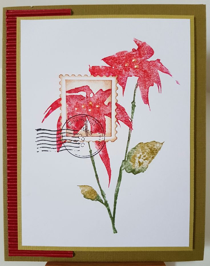 Silhouette Poinsettia 3039K by Penny Black; Santa Post 4142C by Stamp-it. Card by Susan of Art Attic Studio