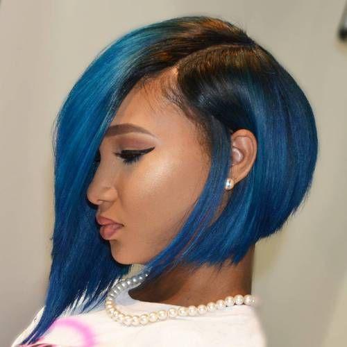 African American Angled Asymmetrical Blue Bob