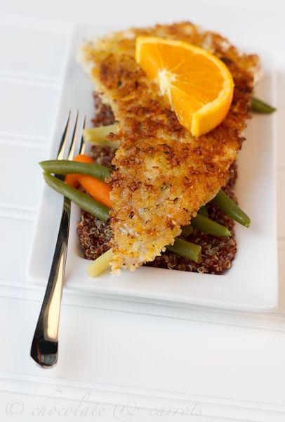 Crispy Flounder  Ingredients  2 flounder filets  1 egg white  1 cup panko bread crumbs  zest of 1 orange  1/8 teaspoon fresh ground black pepper  dash of salt  1 tablespoon olive oil