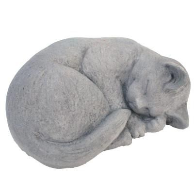 Cast Stone Small Curled Cat Garden Statue Antique Gray-GNCCRLS-AG at The Home Depot