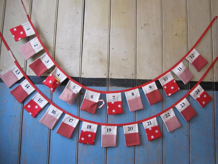Advent Bunting. Colours - Red and Cream. Patterns - Stars, Gingham and Spots.. £45.00, via Etsy.