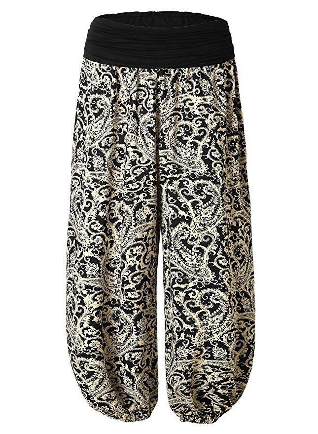 BAISHENGGT - Femme Pantalon bouffant large bande Imprimé Taille haute  Stretch Noir-imprimé Taille Unique 96a291242a8