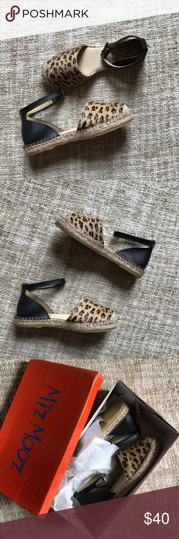 Mix Mooz Leopard Espadrilles Calf Hair Leopard Calf hair, leather and jute espadrilles. Brand new in box! Size 37 fits a US 6.5 Miz Mooz Shoes Espadrilles