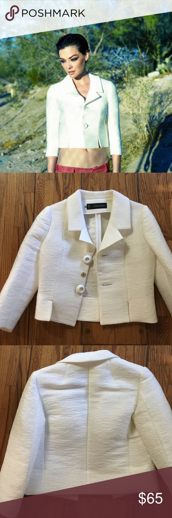 DSQUARED2 cropped jacket Cropped jacket is cotton blend and made in Italy. Wore it once in photo shoot pictured here. I noticed a faint mark on collar and tried to catch it in pic here but it's very faint and didn't show up...just FYI. 😊 DSQUARED Jackets & Coats Blazers