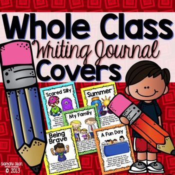 20 writing journal covers for your classroom writing journals.  Students choose what topic they want to write about from a variety of writing journal topics. These covers can be printed and added to bound writing journals or glued to the front of composition or spiral bound notebooks.