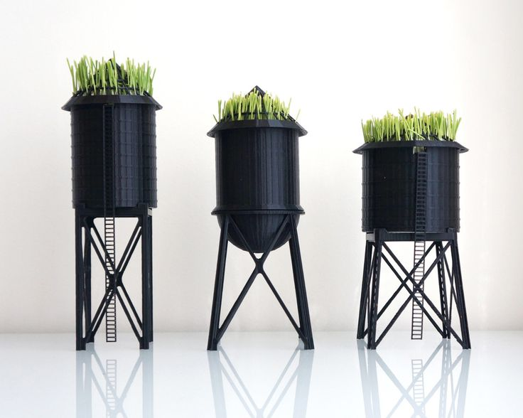 3D printed planters inspired by New York City's roofscape of water towers. Designed by TO+WN.