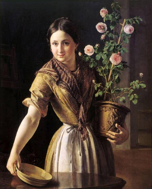 Василий Тропинин (1776-1857) - Девушка с горшком роз, 1850