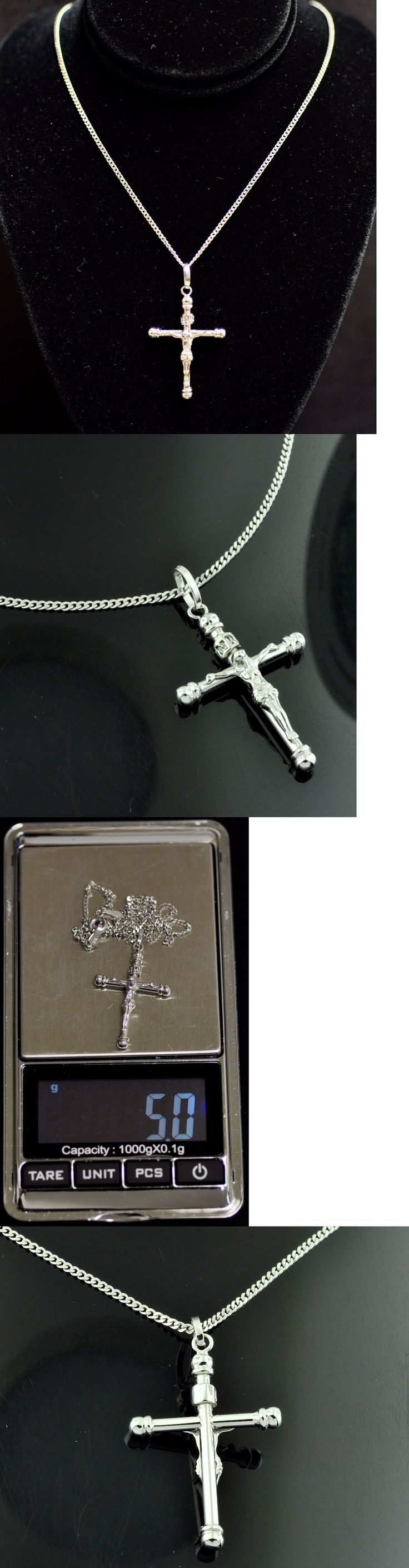 Necklaces and Pendants 84607: 18K Solid White Gold Chain Necklace And Cross Pendant #3920 H3jewels 5.00 Gram -> BUY IT NOW ONLY: $255.0 on eBay!