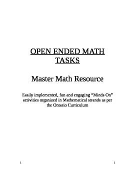 Easily implemented, fun and engaging Minds On activities organized in Mathematical strands as per the Ontario CurriculumThis is a great resource to supplement your math program.  Package is organized into math strands.  Each title page has a list of each task for easy access.