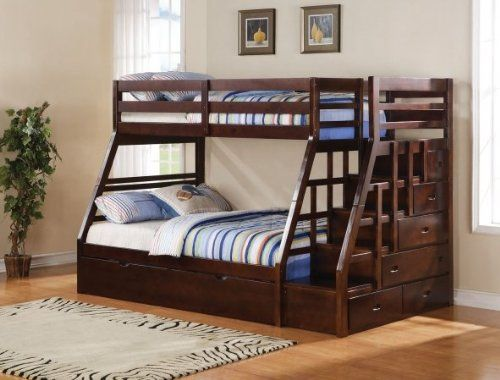 acme jason espresso finish wood twin over full bunk bed set with stair case on the end with trundle and storage for easy climbing