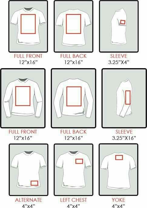 Chart re sizing of decals for shirts. Silhouette