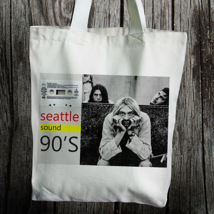 Nirvana Sound of 90 Kurt Cobian Seattle Music Lover Canvas Tote Bag /  Personalized Tote Bag by insehomemade on Etsy