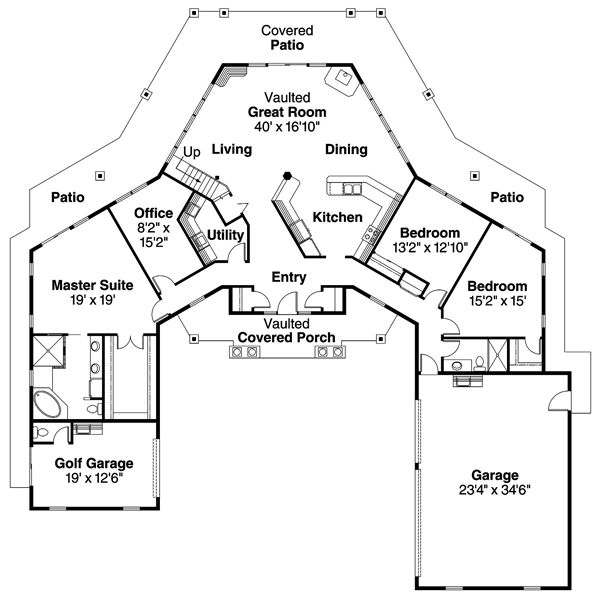 First floor plan of traditional house plan 69298 dream for Colorado style house plans