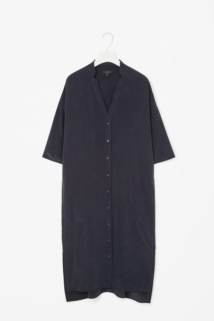 V-neck silk shirt dress