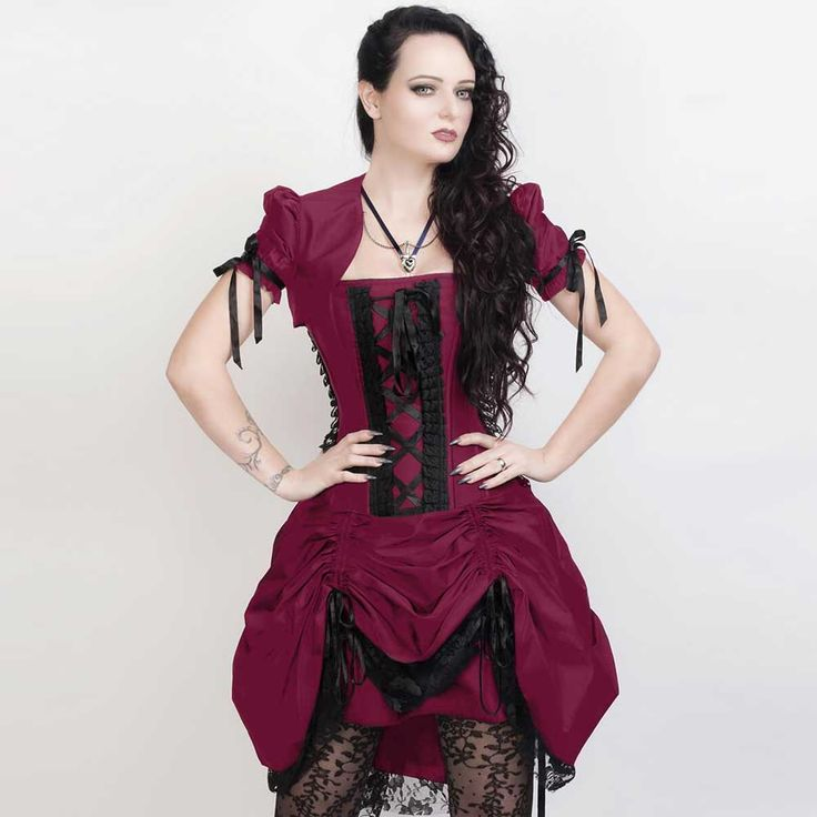 VG London Victoriaanse gedrapeerde korset jurk met bolero en kant mage