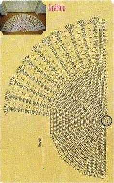 Crochê Gráfico: Tapete meia lua em crochê que parece um leque
