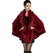 Mulheres tamanho grande feminino mulheres casaco de lã de trincheira solta capa poncho casaco quente casacos casacos de pele do falso(China (Mainland))