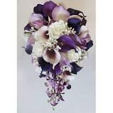 Cascading Wedding Calla Lily Bouquet Purple Bouquet Bridal Bouquet Real Touch Purple Calla Lily Bridal Bouquet Wedding Bouquets