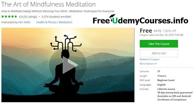 [#Udemy 100% Off] The Art of Mindfulness #Meditation   About This Course  Published 2/2016English  Course Description  Mindfulness Meditationshould be a practice that anyone can benefit from. Unfortunately there is a lot of confusion and complication around this simple practice. This course will make it clear simple and easy for you to practice mindfulness.  This is currently aBest-Selling Mindfulness Courseon Udemy!  4700 Students in 150 Countries  49 Student Reviews  Are you looking for…
