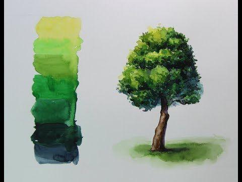 (수채화 기초) 흘리기, 번지기 기법을 활용한 나무그리기 / 풍경수채화 (Tree watercolor using shedding technique) - YouTube