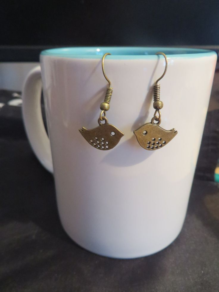 Bird charm dangle earrings, Silver, Antique Bronze or Antique Silver - pinned by pin4etsy.com