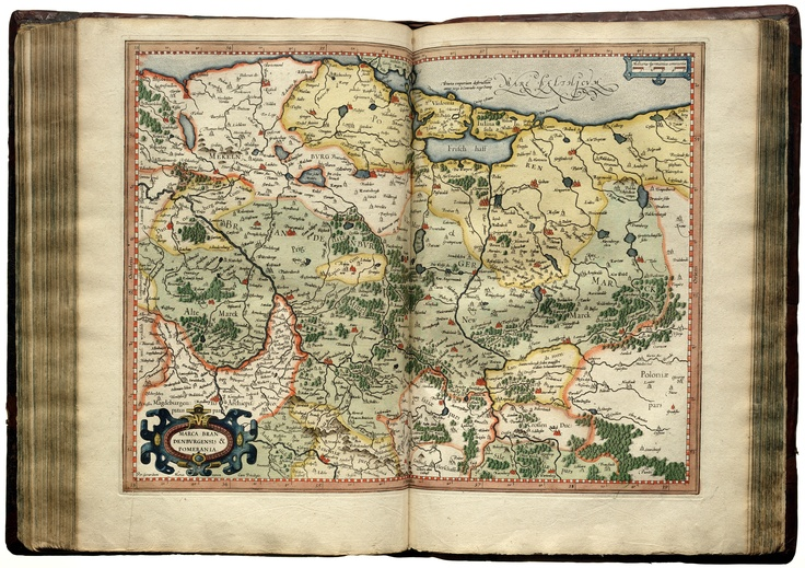 """Atlas Sive Cosmographicae Meditationes De Fabrica Mvndi Et Fabricati Figura"" von 1595, Gerhard Mercator, Karte: Brandenburg"