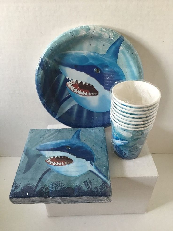 (Creative Converting Cool Shark. 1) Napkins 2 ply 20 count 12 7/8 x 12 3/4 in(32.7cm x 32.3m). Shark party ready! 1) Round paper plates 10 count 8 3/4 in(22.2cm). | eBay!