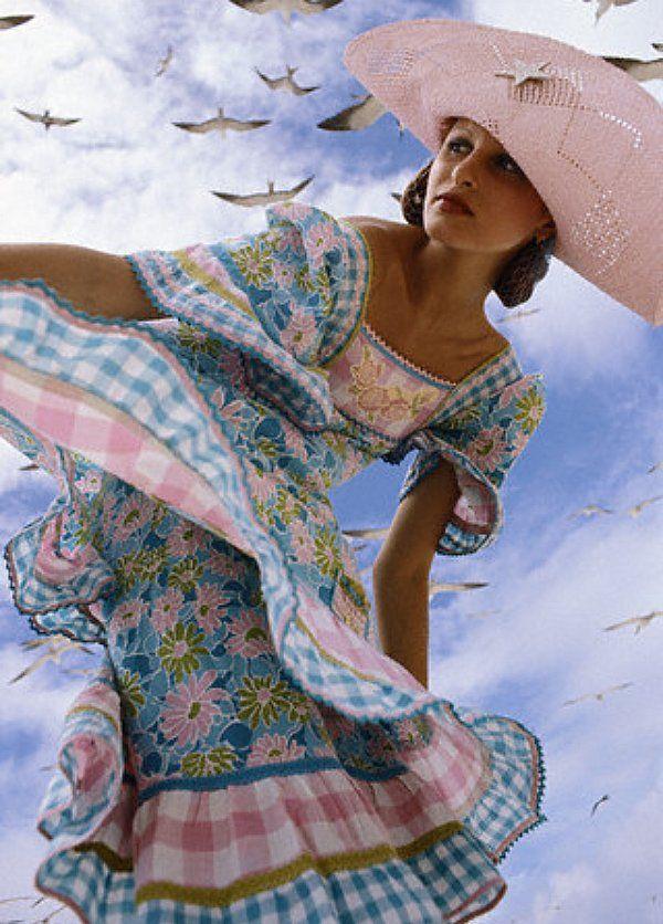 """Apollonia von Ravenstein on Bird Island, Seychelles, photo by Norman Parkinson for """"Vogue,"""" 1971"""