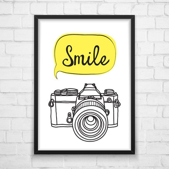 Printable Wall Smile photo camera Art от MotivationalThoughts