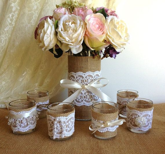 6 burlap and lace covered votive candles and vase wedding decorations, bridal shower decor, home decor, gift or for you NEW