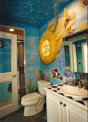 Underwater Adventure, Painted by Andre Tedesco, this underwater mural completely transforms this bathroom into a deep sea adventure.